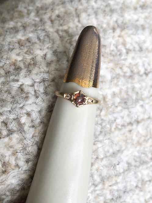 14k Yellow Gold Accented Hexagonal Rosecut Diamond Ring