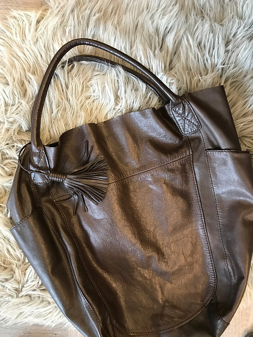 Genuine Brown Leather Slouchy Tote