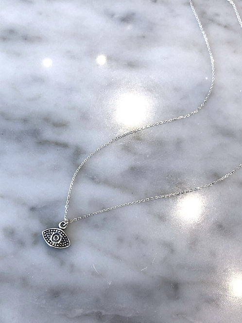 Antiqued Silver Evil Eye Charm Necklace