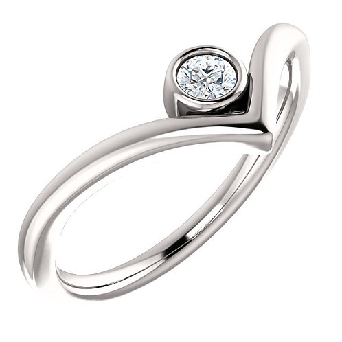 'V' Ring with Diamond Solitaire Bezel