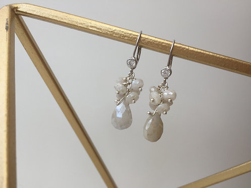 Fancy Gem Cluster Drop Earrings