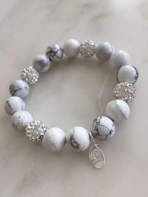 Beaded Expandable Bracelet with Crystal Balls