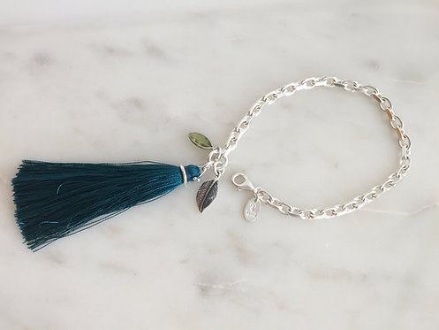 Chunky Chain Bracelet with Tassel and Charms