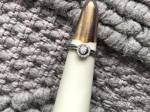 14k White Gold Bezelled Diamond Ring AND Halo Jacket Set