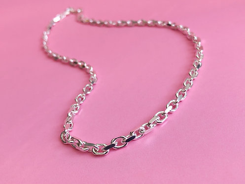 Silver Chunky Diamond Cut Anchor Chain
