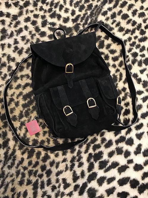 Genuine Suede Backpack/Bookbag with Pockets