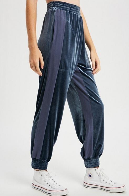 Velvet Joggers with Stripe Detail