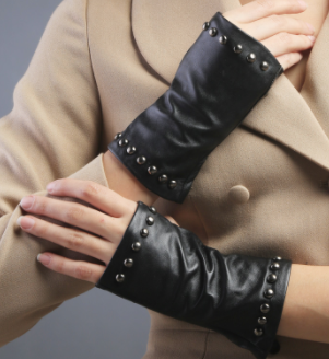 Genuine Black Leather Fingerless Gloves with Stud Accents