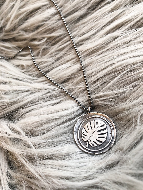 Fine Silver 'Palm Leaf' Medallion with Chain