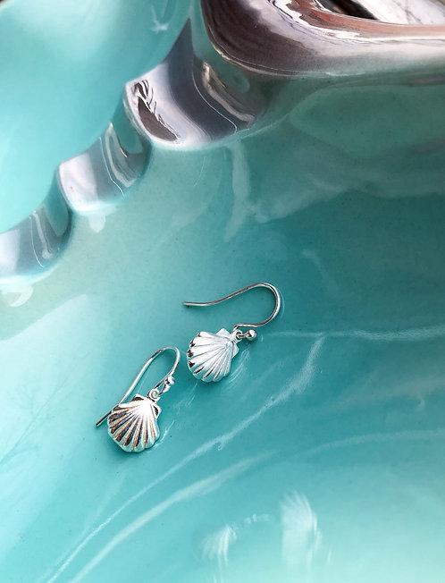 Silver Shell Dangle Earrings