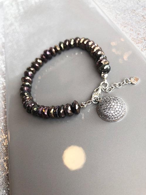 Black Spinel Rondelle Bracelet with Domed Pave Charm