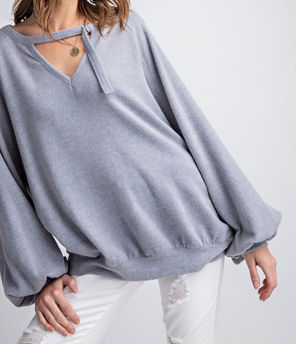 Blue- Grey Ultra Soft Mock Neck Sweater with Keyhold Front