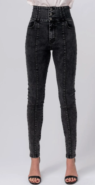 High Waisted Black Acid Wash Jeans