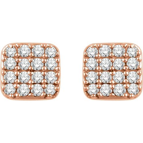 14k Gold Soft Square Diamond Stud Earrings