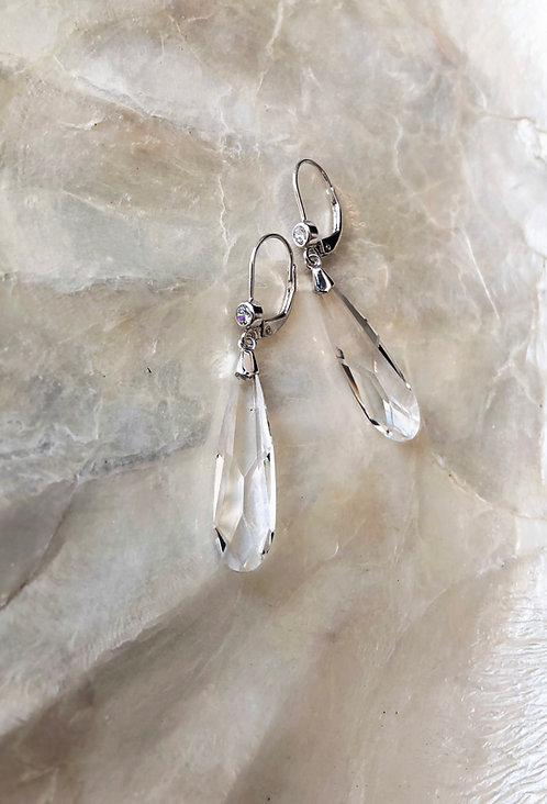 Oblong Swarovski Crystal Earrings