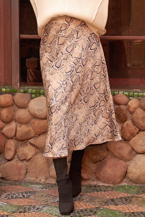 Snakeskin A-Line Midi Skirt
