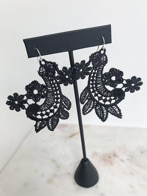 Large Black Venise Lace Flower & Paisley Earring