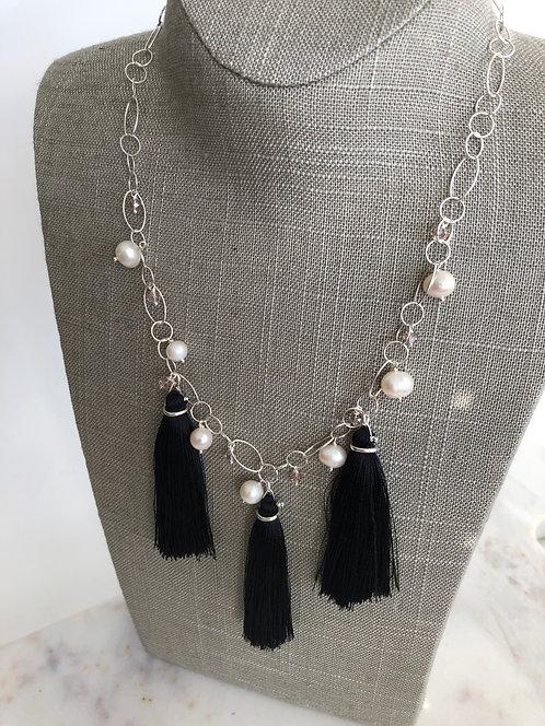 Triple Tassel Neckpiece with Pearls