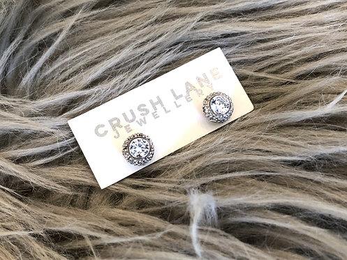 Silver Sparkly Bulbous Studs