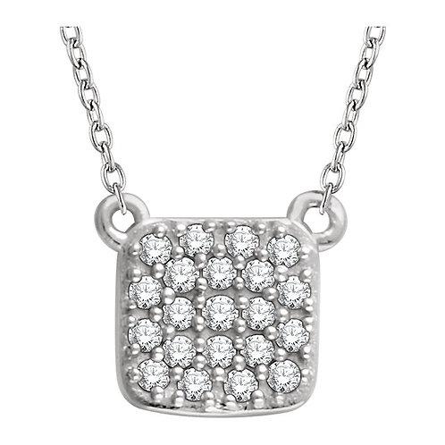 14k Gold Soft Square Diamond Necklace