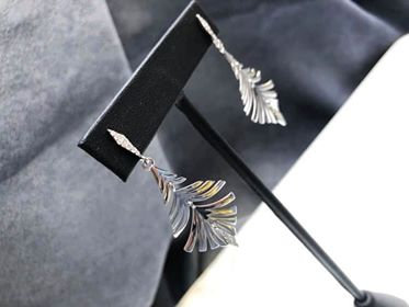 Silver Peacock Feather Dangle Earrings