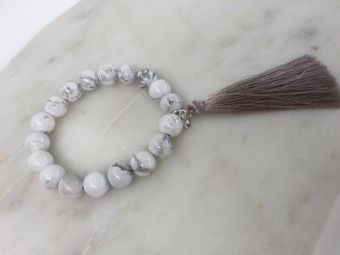 Beaded Expandable Bracelet with Tassel