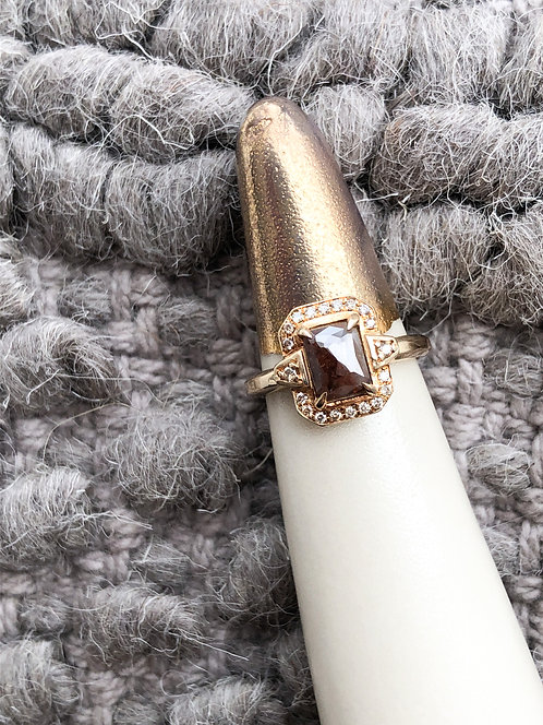 14k Yellow Gold Accented Brown Rosecut Diamond Ring