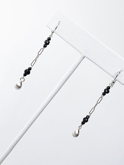 Deco Dangle Earrings with Black Spinel