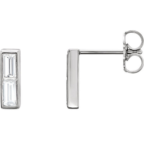 14k Gold Diamond Baguette Bar Stud Earrings