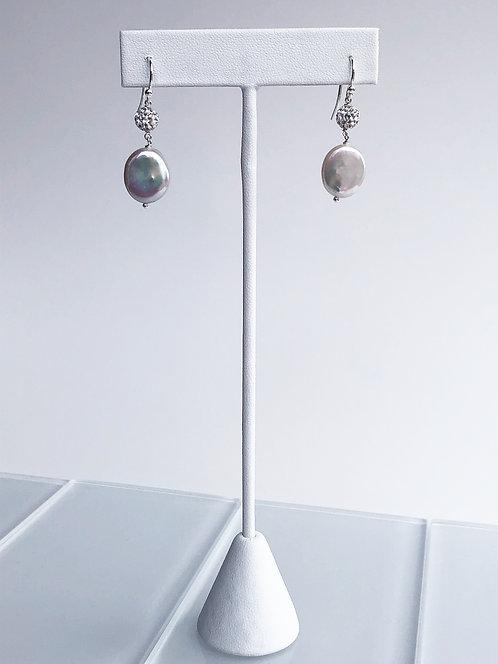 Pearl and Crystal Ball Dangle Earring