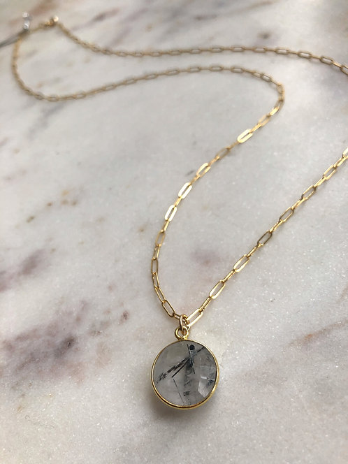 14k Gold Filled Long Paperclip Necklace with Black Rutilated Quartz