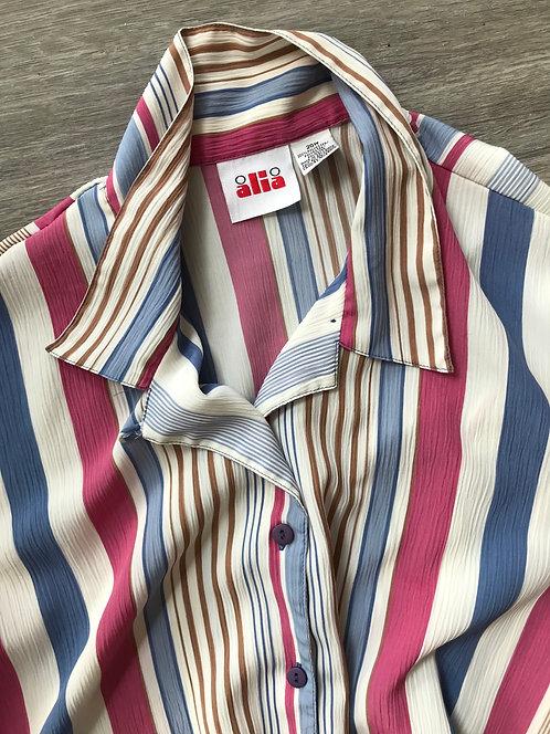 'Alia' Oversized Stripe Button Up