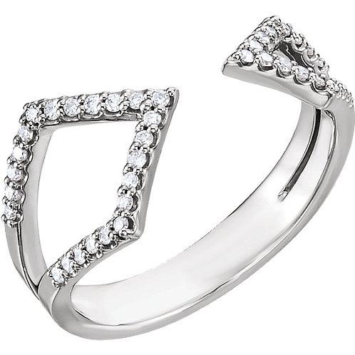 14k Gold Flared Open-Arrow Diamond Ring