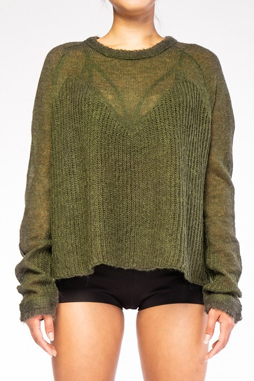 Olive Semi Sheer Knit Sweater