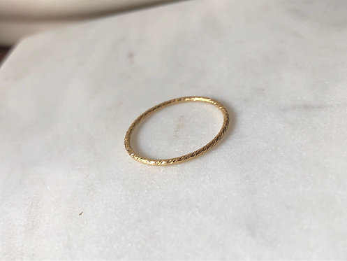 14k Gold Filled Thin Textured Band