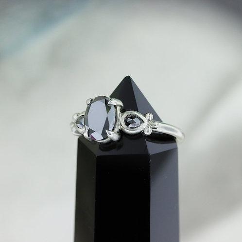 14k White Gold Accented Black Diamond Ring