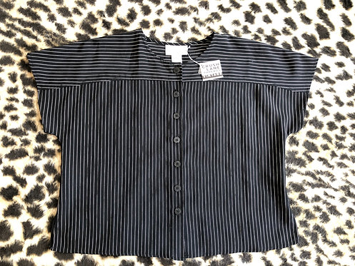 Pinstripe Button-Up Blouse