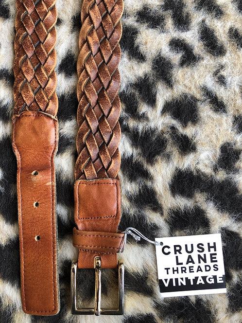 Braided Brown Genuine Leather Belt