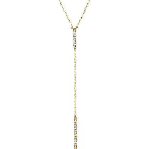 14k Gold Bar Diamond Lariat
