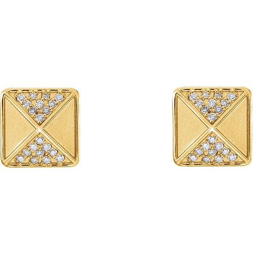 14k Gold Pyramid Diamond Stud Earrings