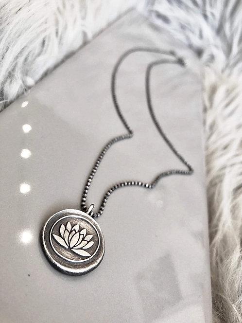 Fine Silver 'Lotus' Medallion Pendant