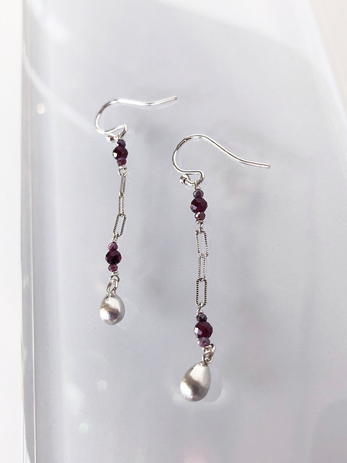 Deco Dangle Earrings with Garnet and Silverite