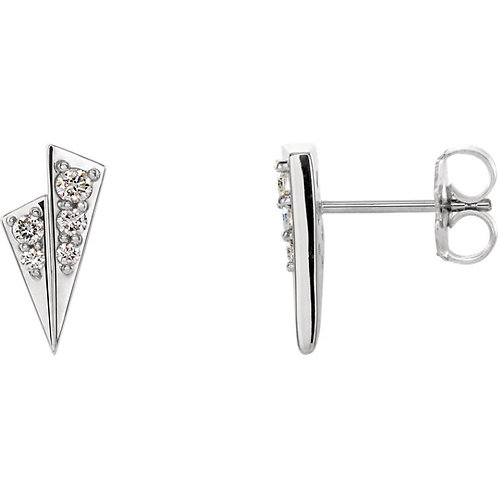 14k Gold Diamond Accented Geometric Earrings