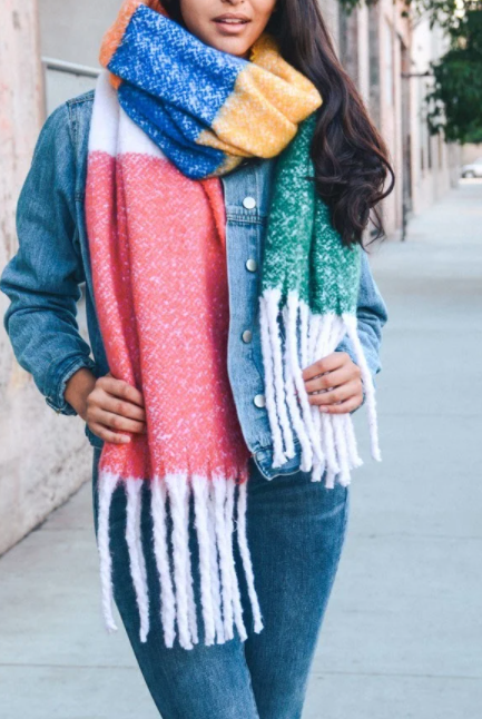 Chunky Rainbow Blocked Scarf with Tassel