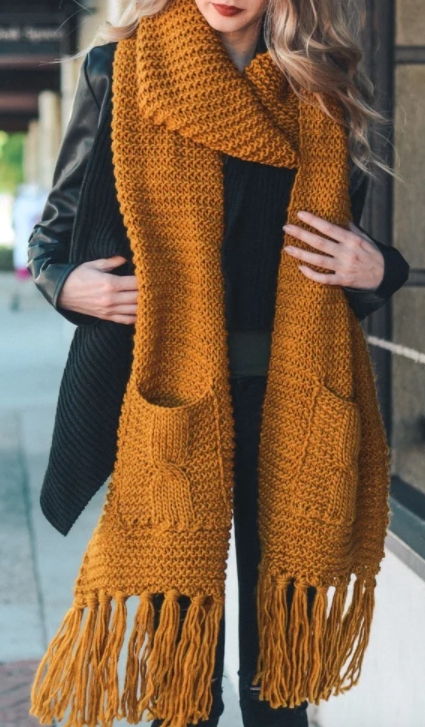 Chunky Mustard Two Pocket Scarf with Tassel