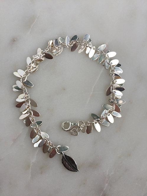 Silver Leaf Fringe Bracelet