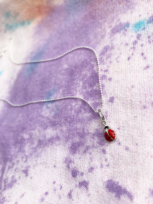 Kid's Lady Bug Charm Pendant with Chain