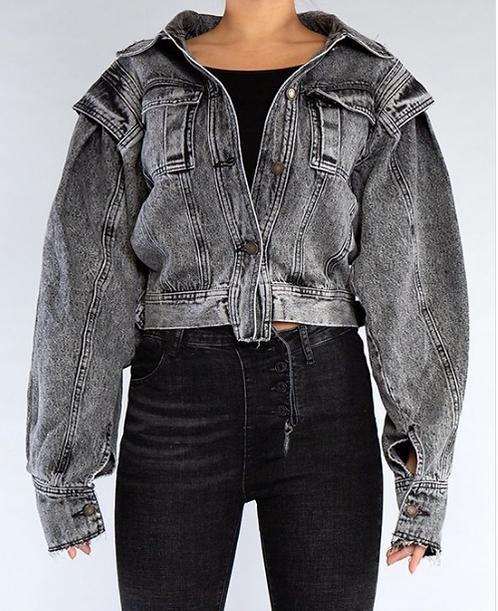 Black Acid Wash Denim Crop Jacket with Enhanced Shoulder