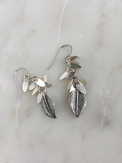 Silver Leaf Fringe Earrings