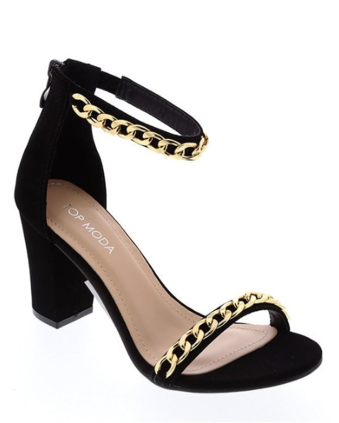 Strappy Heeled Sandal with Chain Detail